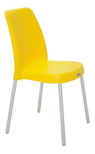 4 cadeira tramontina vanda amarela com pernas de aluminio