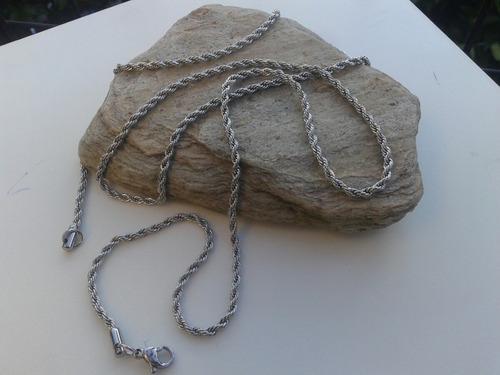 4 cadenas soga de acero quirúrgico 2/3/4 mm x45/50cm x mayor