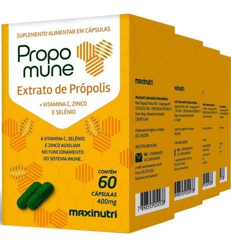 4 caixas extrato de própolis + vit c zinco e selênio 60 cáps