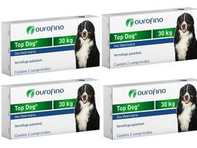 4 Caixas Vermífugo Top Dog Até 30kg - Cx 2 Cp - Total 8 Cp