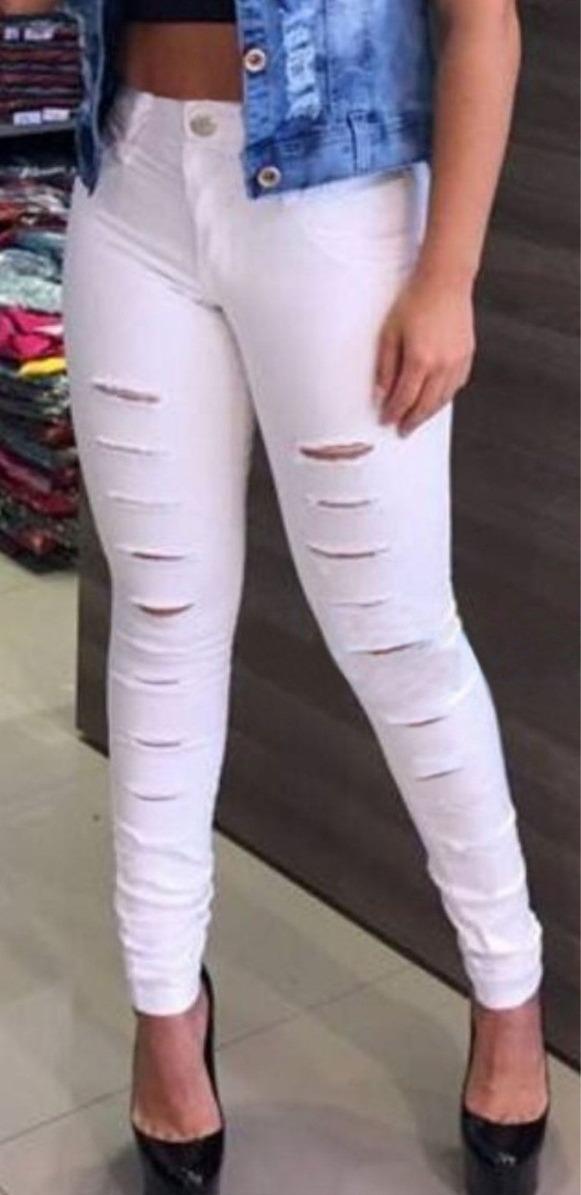 1c0bda626 4 calças femininas rasgada destroyed cintura alta branca. Carregando zoom.