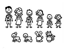 4 Calco Vinilo Sticker Para Auto Personajes Familia Mascota
