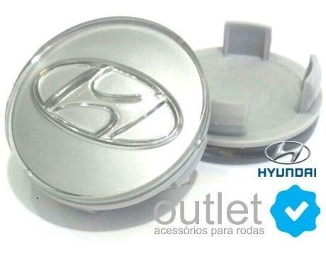 4 calotinha centro miolo tampa de roda hyundai hb20 prata