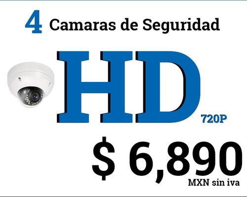 4 camaras de seguridad hd 720p con instalacion en mty