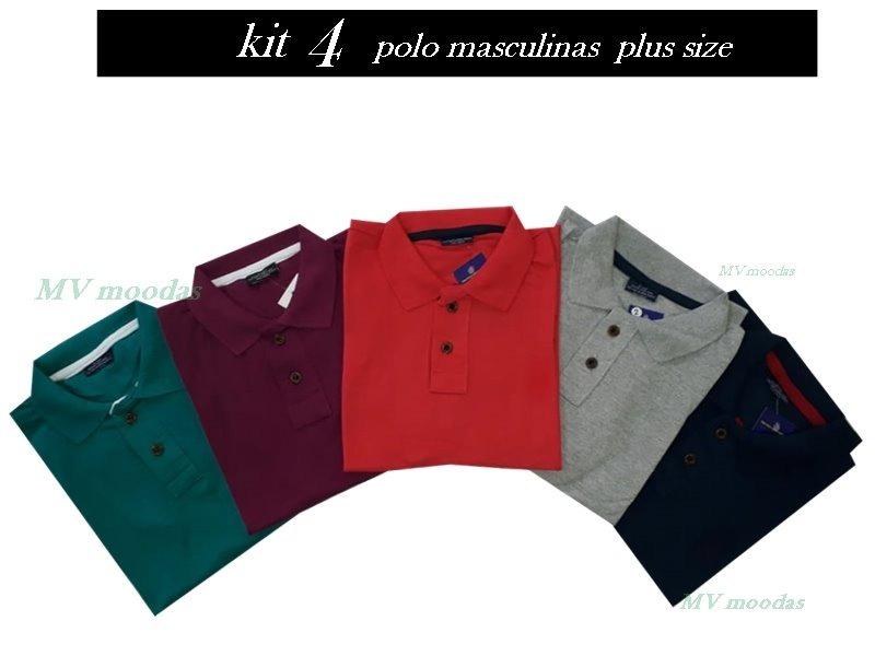 56086ed6c9 4 camisas polo plus size masculina tamanhos especiais oferta. Carregando  zoom.