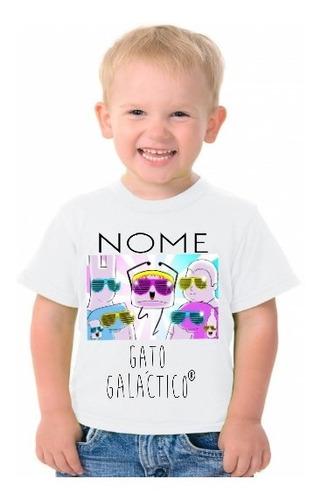 4 camiseta personalizada masculina gato galactico adulto