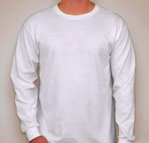 b88e97b15b 4 Camisetas Manga Longa Lisa Camisa Malha Fria(pv) Branca - R  88