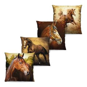 4 Capas De Almofada Estampa Digital Cavalos P/ Quarto Sala Varanda - Original Com Garantia E Nota Fiscal