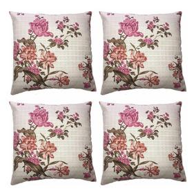 3f38cb535b0f8c 4 Capas De Almofada Estampada Rosa 45x45 Zíper Floral Bela
