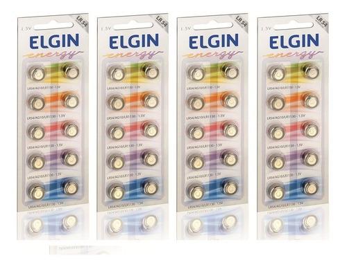4 cartelas c/10 un. bateria alcalina energy lr54 1,5v elgin