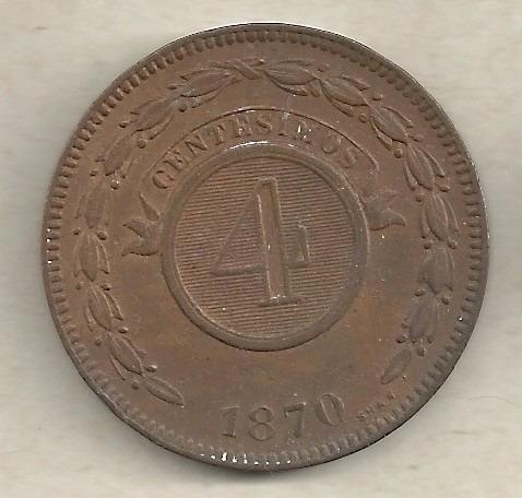 4 centésimos 1870 - paraguai - cobre - rara neste estado