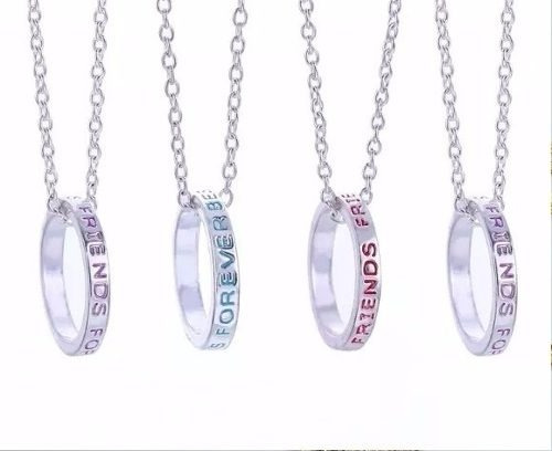 4 colares best anel amigas amizade folheado a  prata b23 bff