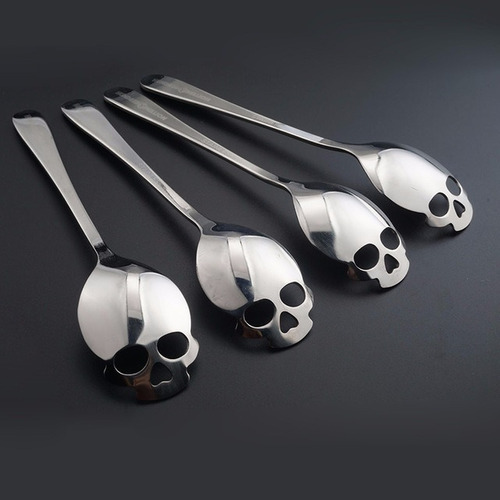 4 colher caveira presente aço inoxidável talher coleção bar