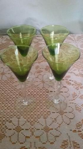 4 copas de cristal de color