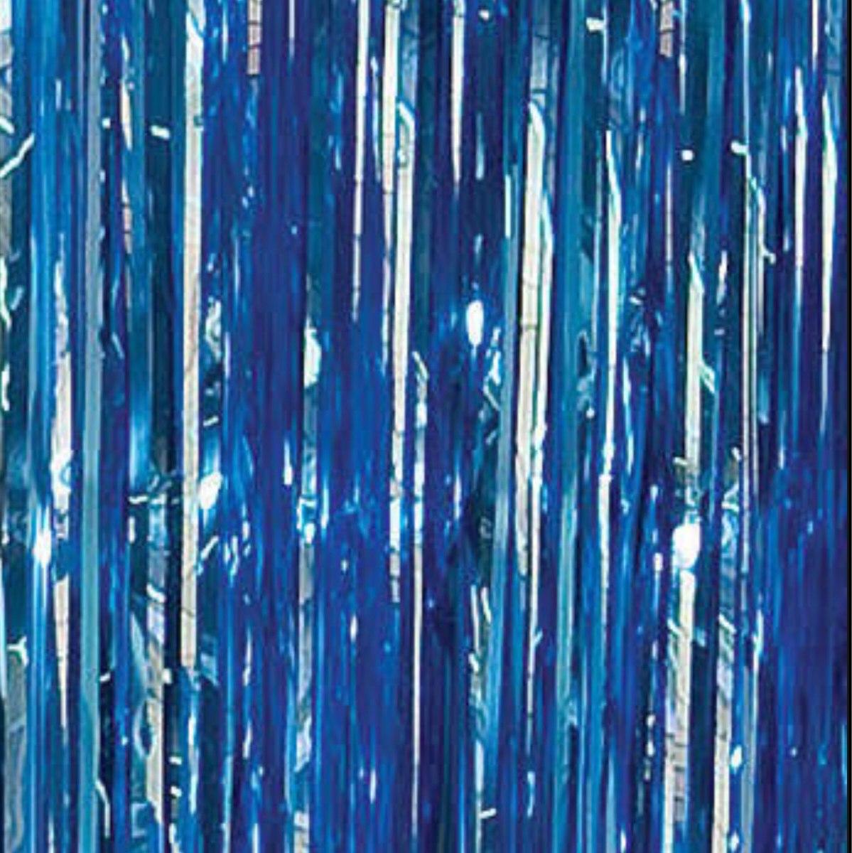 4 Cortinas Metálicas Azules Y 4 Plateadas Para Fiestas