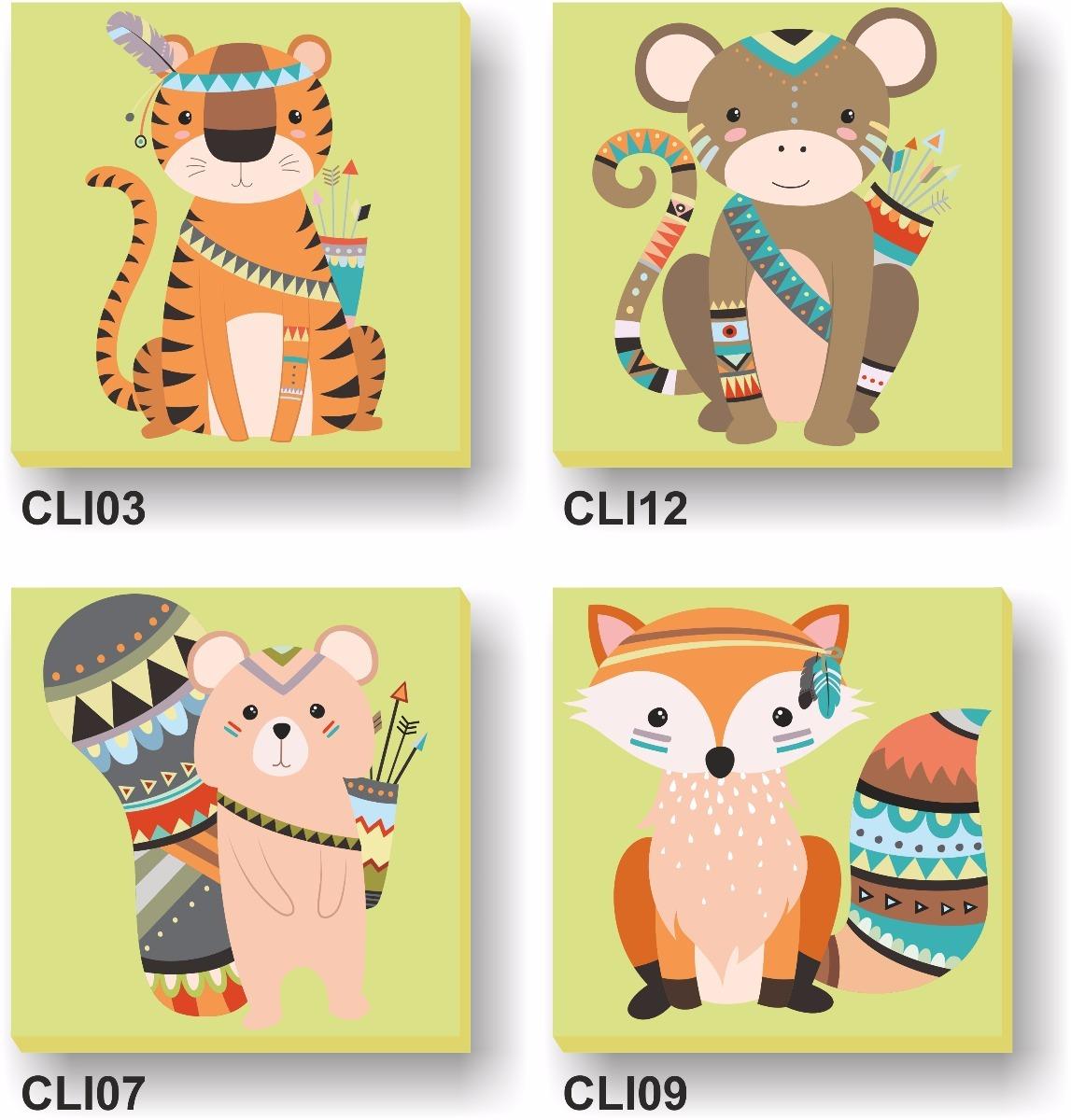 4 Cuadritos Lienzo 20x20cm Infantiles Animales Oso Tigre Etc  # Muebles Tigre Infantiles