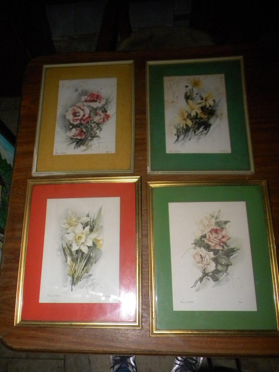 4 Cuadros De Flores Con Marcos $ 799 - $ 799,00 en Mercado Libre
