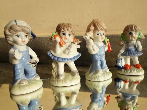 4 cuatro figuras en cerámica esmaltadas policromadas