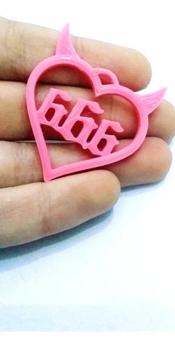 4 dijes corazón 666 con cuernitos para aros pulseras collare