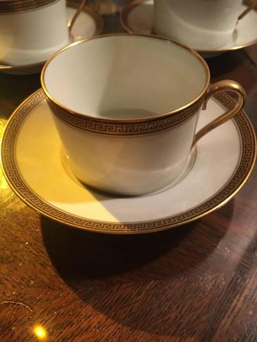 4 dúos tazas de té limoge blanco y virola de oro