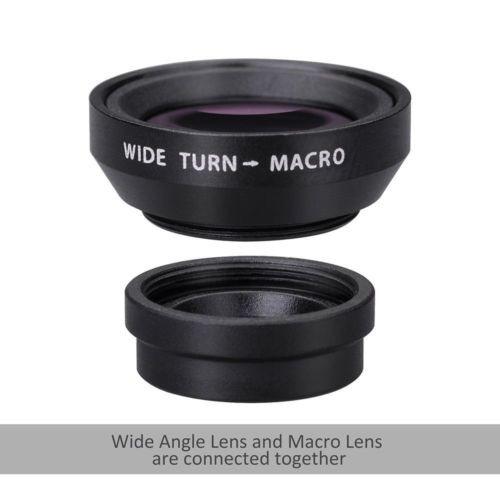 4 en 1 lente fish eye + amplia ángulo + macro lente + teleob