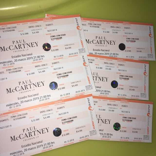 4 entradas general paul maccartney