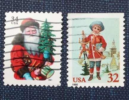 4 estampilla 32c 34c navidad usa santa claus arbol christmas