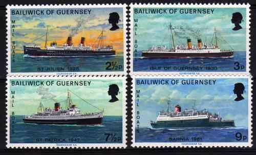 4 estampillas de guernsey tema barcos año 1973