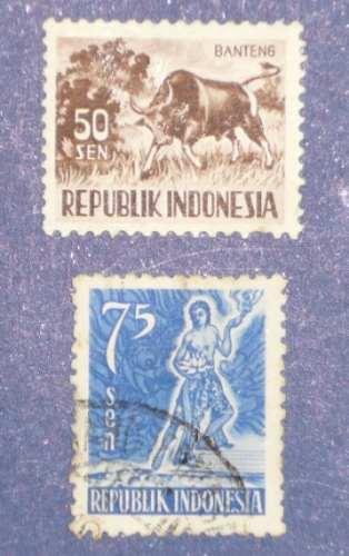 4 estampillas indonesia fauna animales 5 sen kantjil banteng