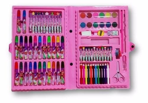 4 estojos maleta escolar pintura 86 peças canetinhas giz