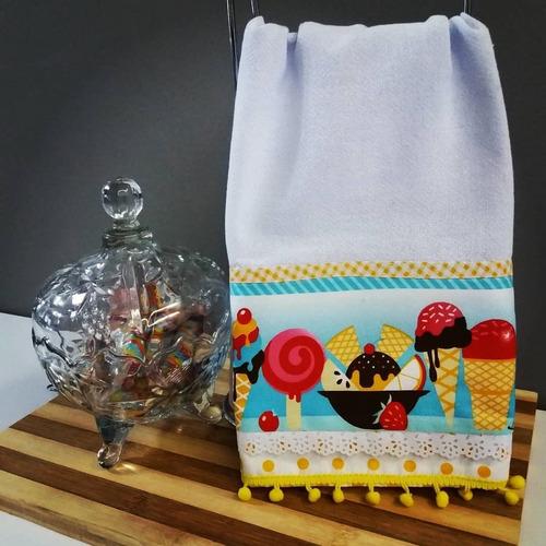 4 faixas decorativas de sorvete em tricoline 1m x 10cm