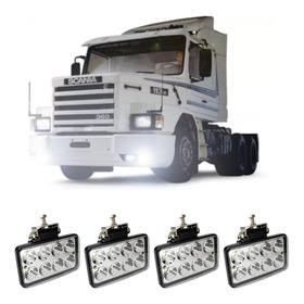 4 Farol Milha Retangular Led Scania 112 113 Mb 1113 Volvo Nl