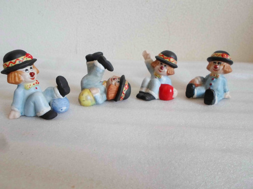 4 figuras de cerámica policromadas payasos payasitos 6x5x4