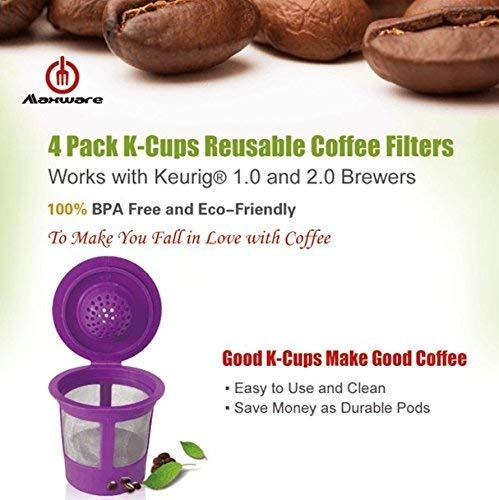 4 filtros de cafe recargables reutilizables para los cervece