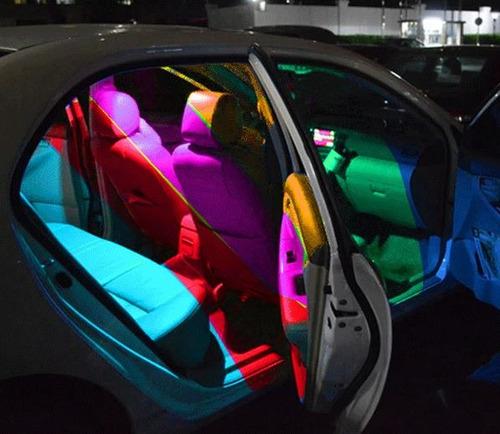 4 foco luces led t10 luz guía salón multicolor control remot