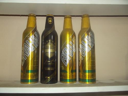 4 garrafas de alumínio brahma