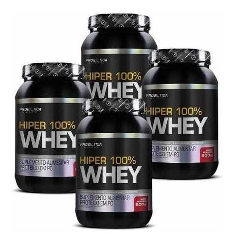 4 hiper 100% whey  900g pote - probiotica