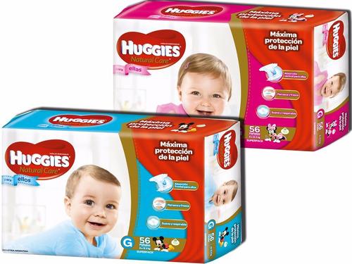4 hiperpacks huggies natural care para ellos y ellas