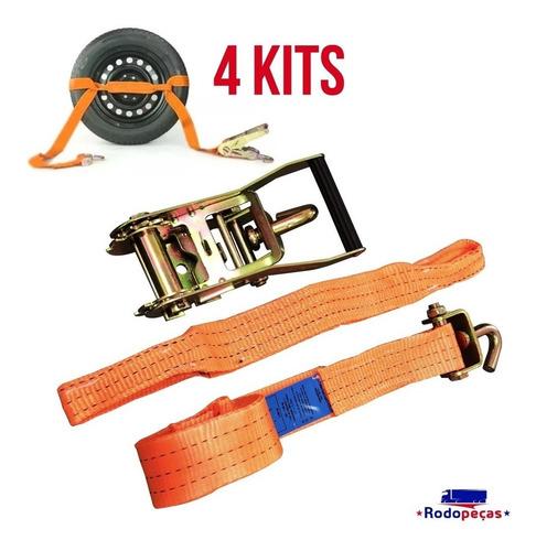 4 kit cinta catraca p/ amarração de veiculo em guincho 3 ton
