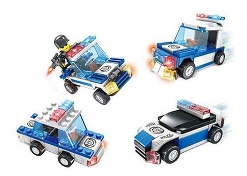 4 kits blocos de montar carros policia brinquedo educativo