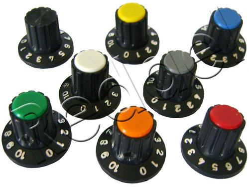 4 knobs p/ potenciômetro eixo estriado botão liga volume ton