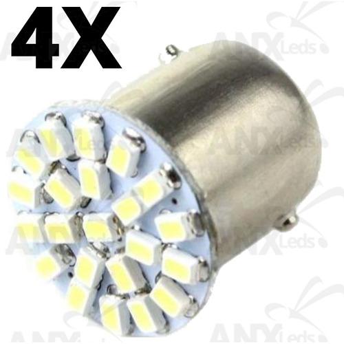 4 lampadas led 1 polo 22 smd re e pisca luz branc frete 9,00
