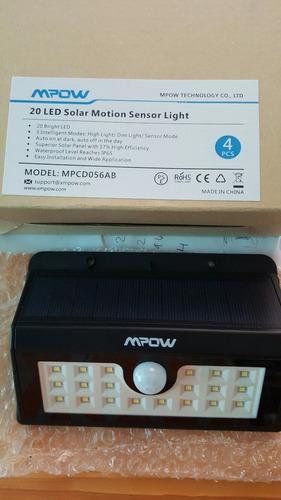 4 lampara led solar inalambrica c sensor movimiento 20 leds