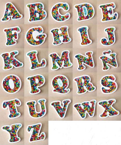 4 letras huecas 16cm + corporea 14cm polyfan candy golosinas