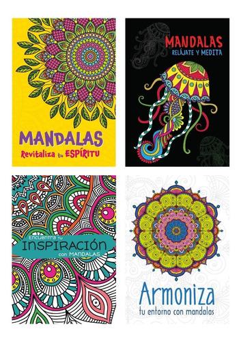 4 libros mandalas iluminar colorear rélajate medita armoniza
