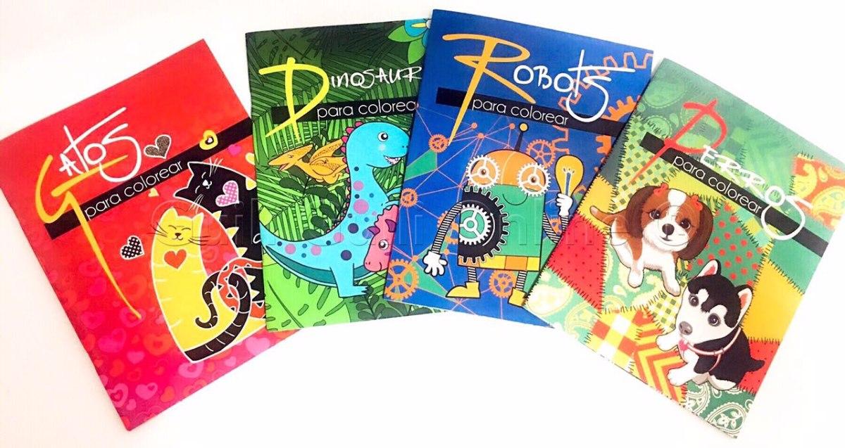 4 Libros Para Colorear De Animales Niños Antiestres Regalo ...