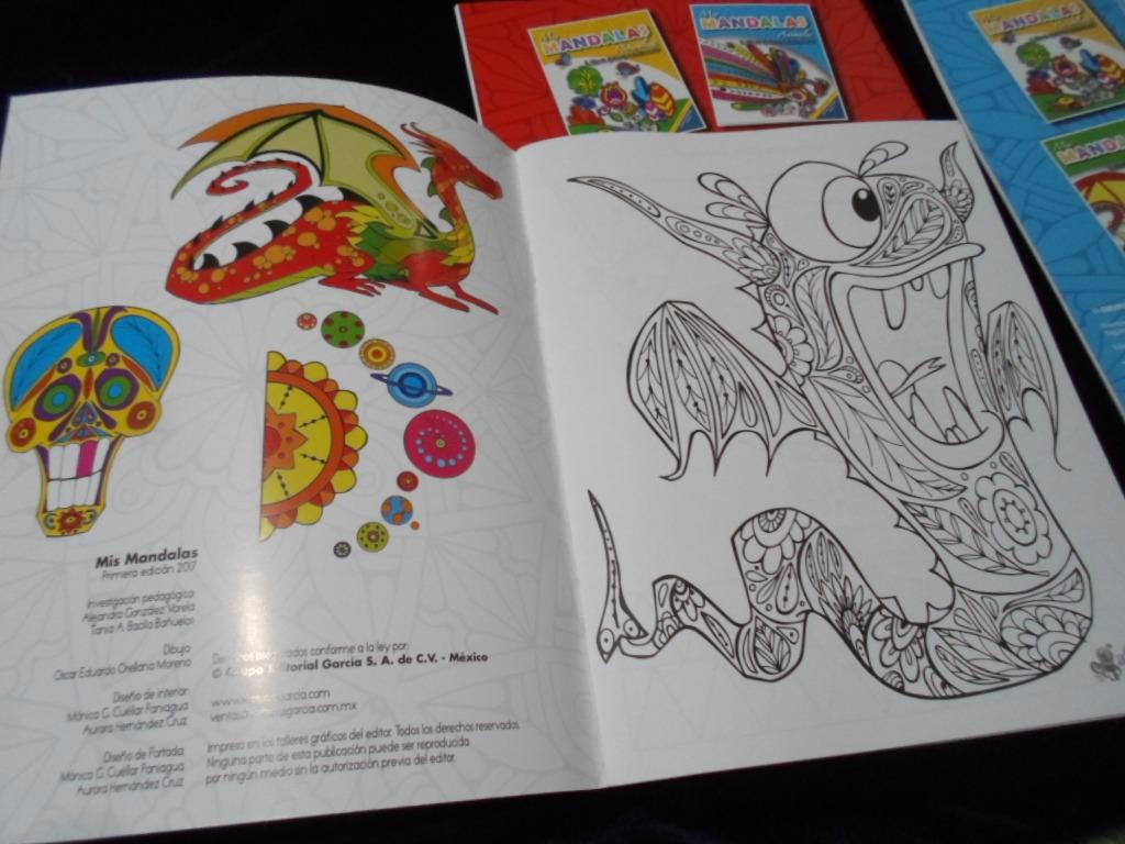 4 Libros Para Colorear Mandalas Animales Naturaleza Dragones ...