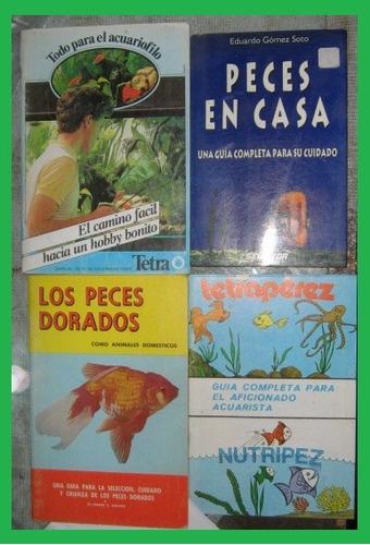4 libros, peces dorados y guia acuario, acuariofilo, peces
