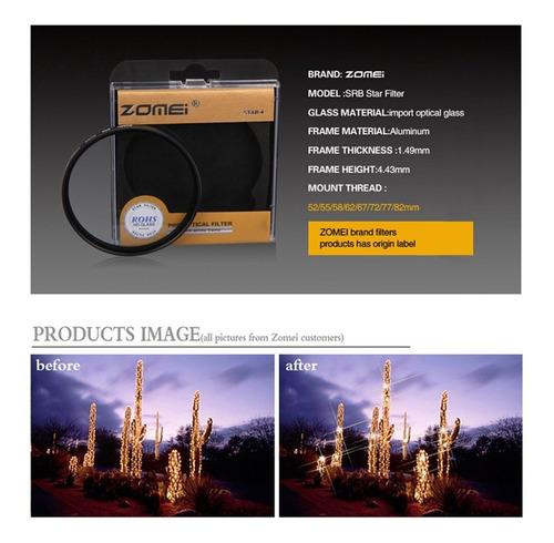 4 linha zomei star filtro óptico vidro lente filtro fotograf