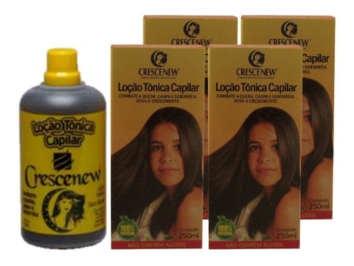 4 locao tonica anti-queda crescimento capilar crescenew - queda cabelo - caspa - seborreia